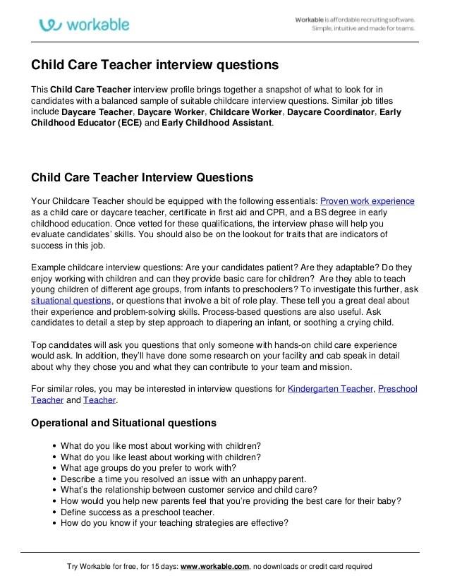 Interview Questions For Preschool Teachers Tips Amp Questi