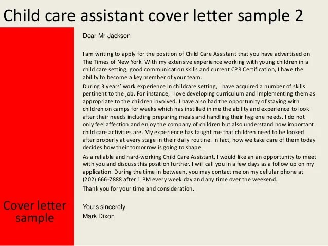 Child care assistant cover letter