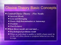 Choice theory reality therapy