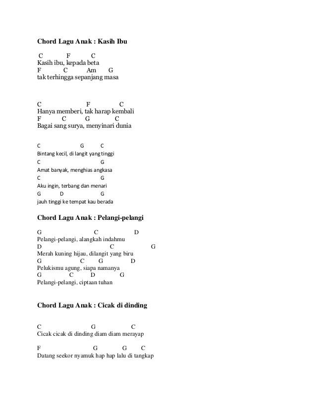 Cicak Cicak Di Dinding Chord : cicak, dinding, chord, Chord