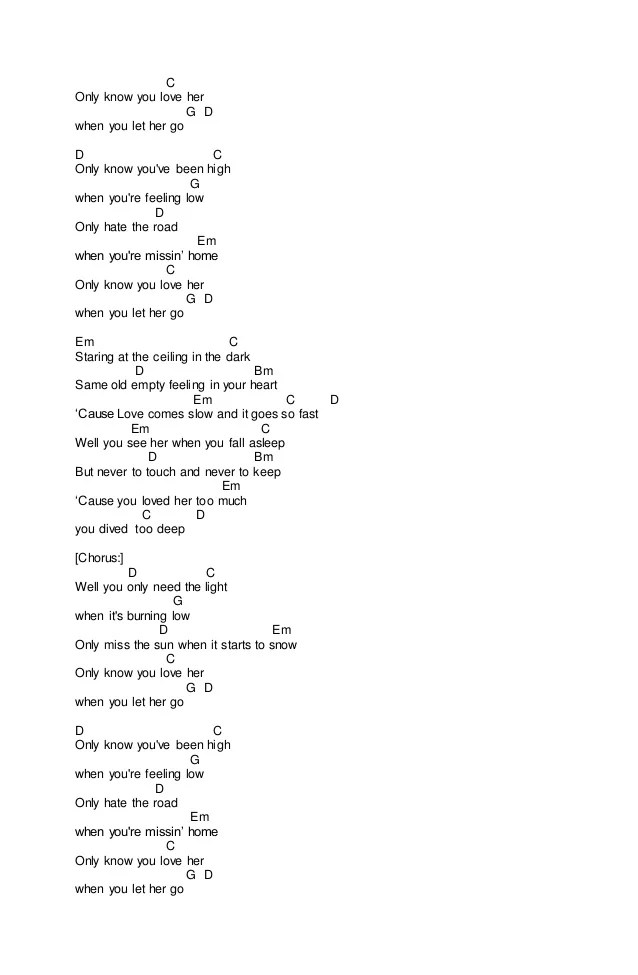 Song Of By And Let Her Go Passenger Chords
