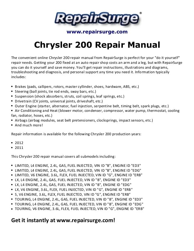2012 Chrysler 200 Belt Diagram : chrysler, diagram, Chrysler, Repair, Manual, 2011-2012