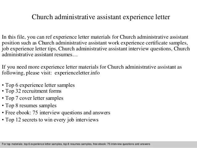 Church administrative assistant experience letter