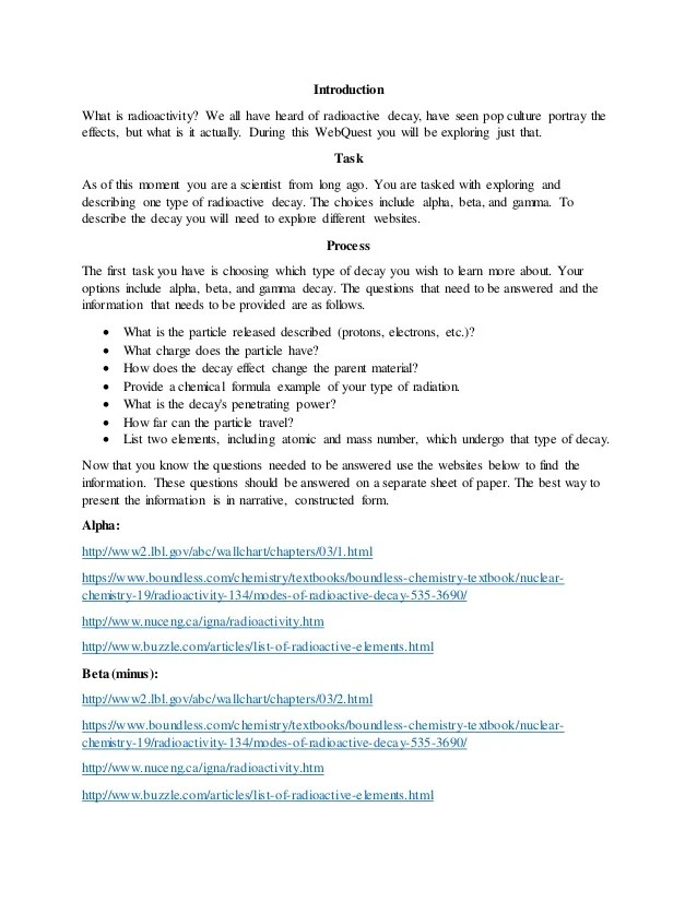 Radioactive Decay Webquest Worksheet Answers Invations