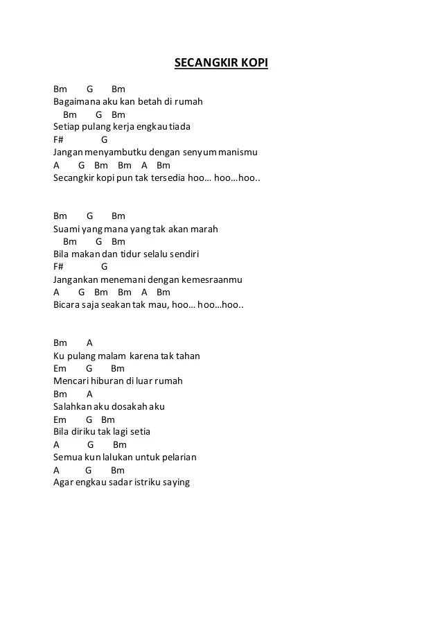 Kunci Gitar Secangkir Kopi : kunci, gitar, secangkir, Lirik, Dangdut, Secangkir