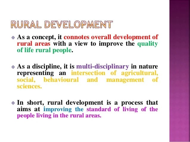 Rural Development Meaning definition and concepts