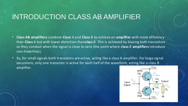 In Class Ab Power Amplifiers The Biasing Circuit Is So Adjusted That