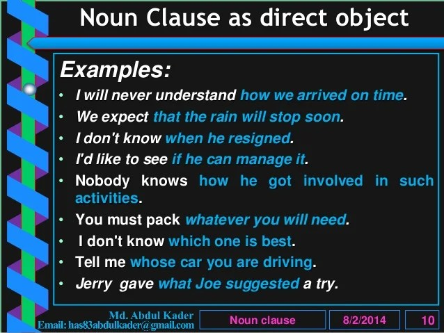 Clause Part 5 Of 10 Noun Clause