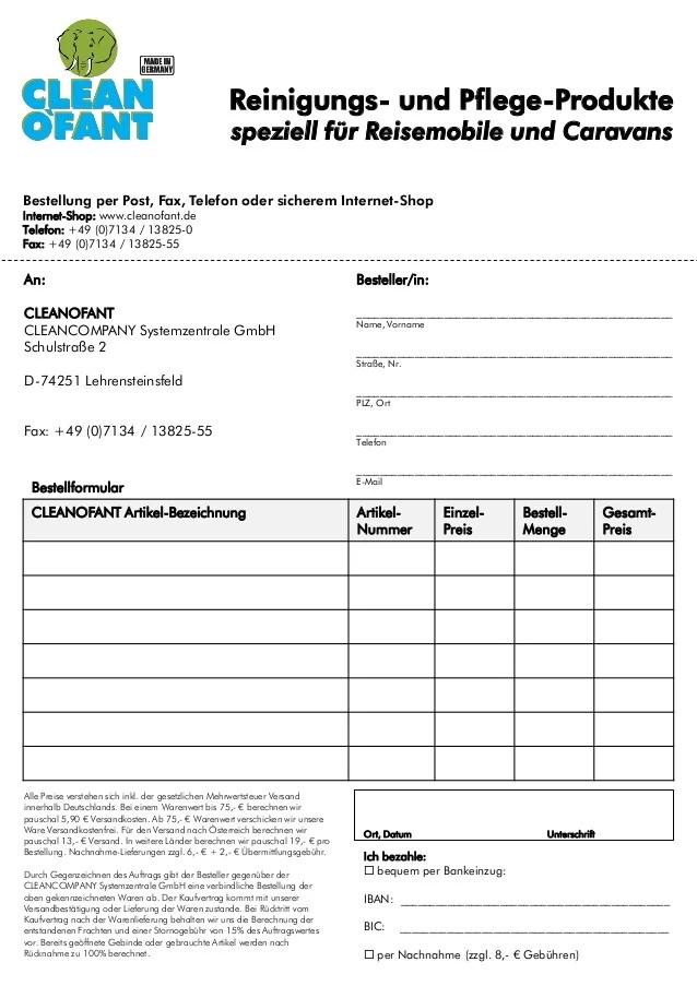 CLEANOFANT Katalog 2014 mit Bestellformular Wohnwagen