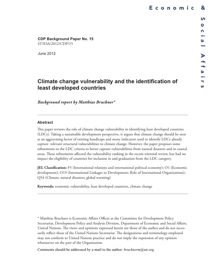 Climate Change Vulnerability And The Identification Of Least Develope