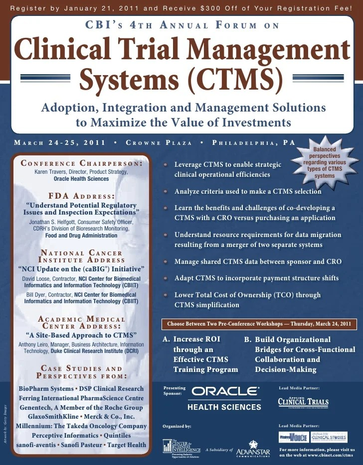 CBIs 4th Annual Forum on Clinical Trial Management Systems CTMS