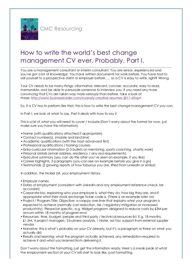 How to write the worlds best change management CV Probably