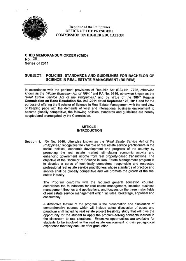 CMO 28 Policies Standards And Guidelines For Bachelor Of