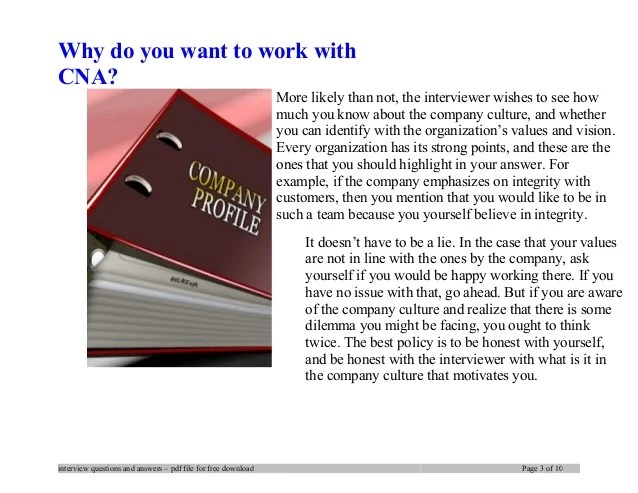cna interview questions and answers