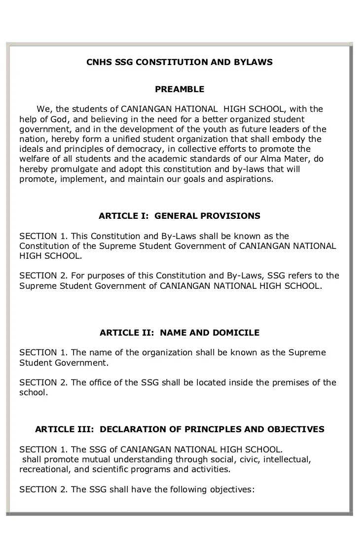 Cnhs Ssg Constitution And Bylaws 1