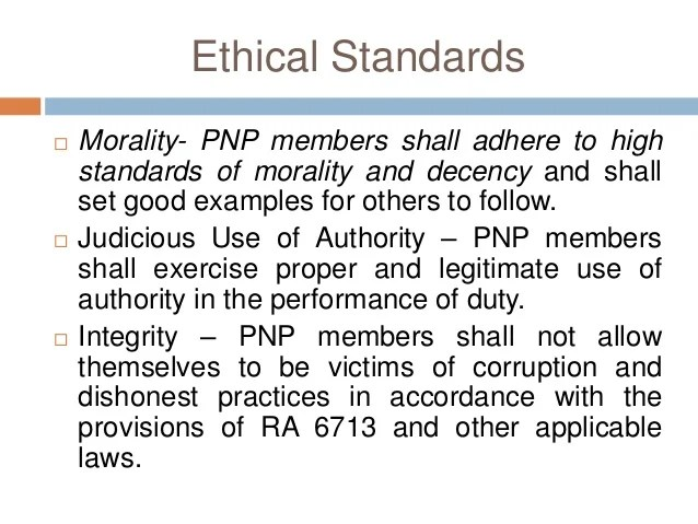 ETHICS AND CONDUCT POLICE