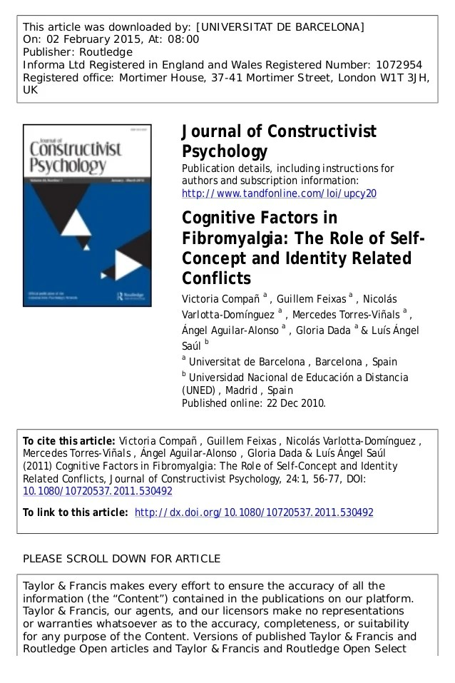 Cognitive factors in fibromyalgia the role of self