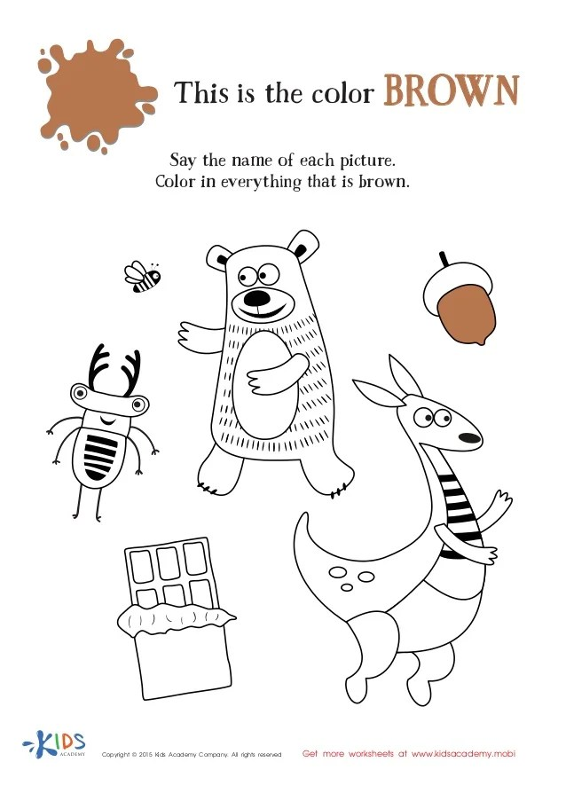 Learning Color Brown for Toddlers and Preschool | coloring worksheet for toddlers
