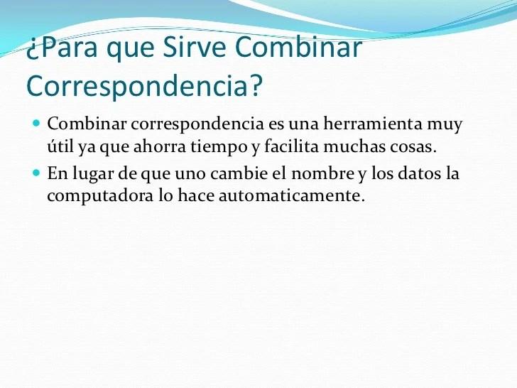 Combinacin De Correspondencia Presentacin