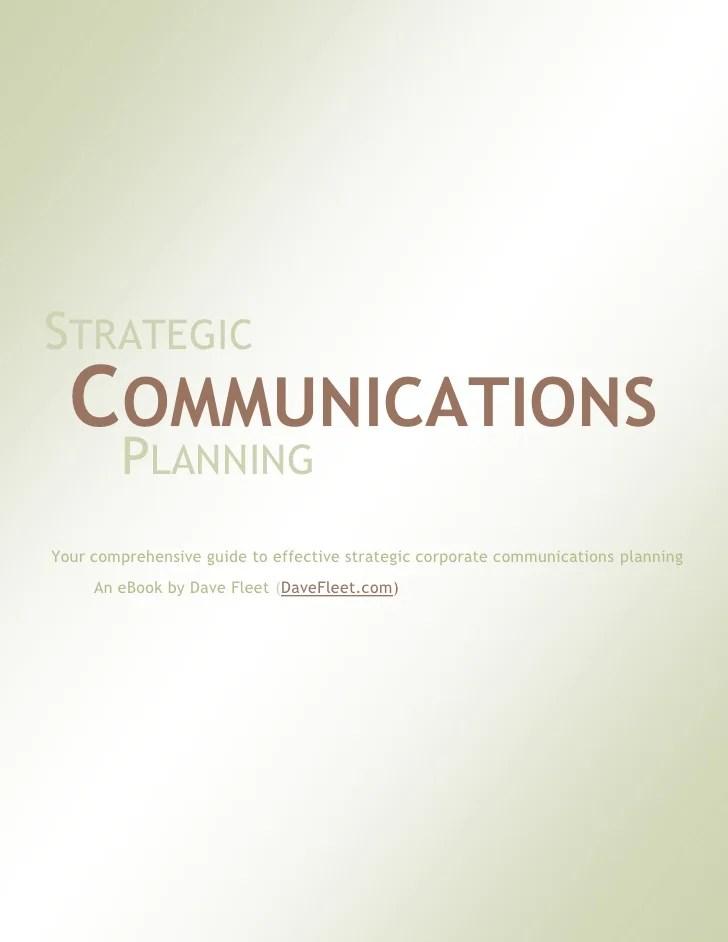Strategic Communications Planning A Free EBook