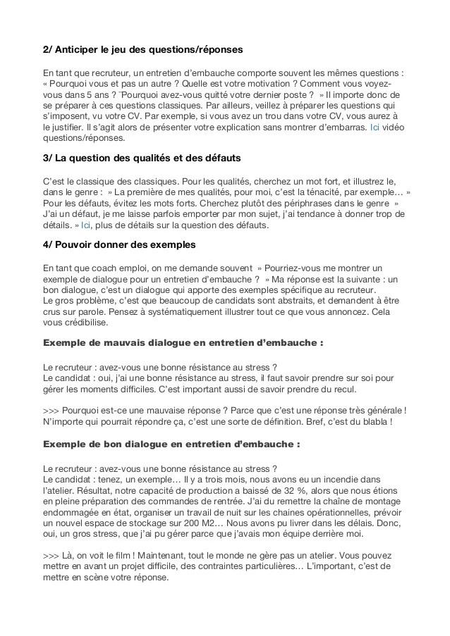 Comment reussir un entretien - Document PDF