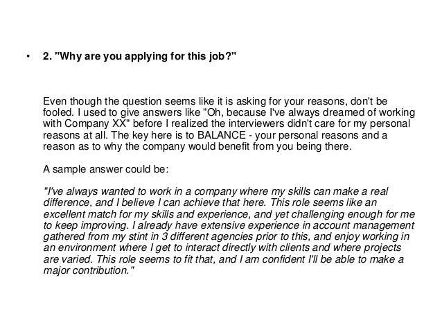 reasons for applying for a job