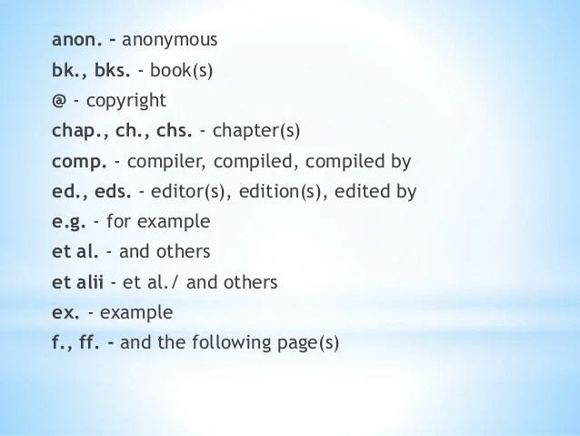Commonly Used Acronyms Symbols Abbreviations
