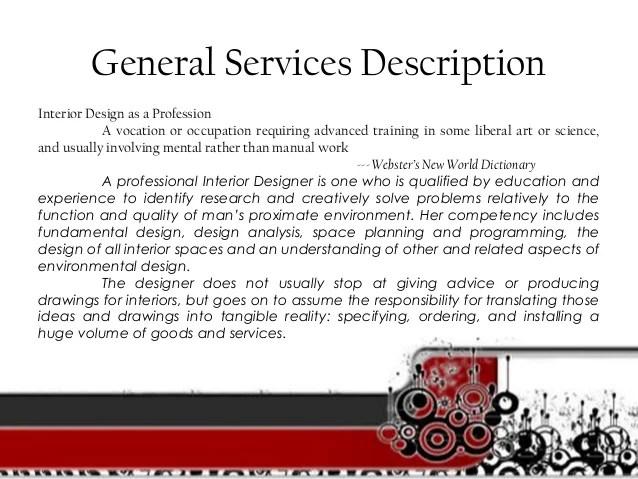 Description of interior design services for Description of an interior designer