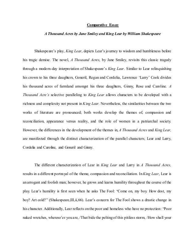 King Lear Essays Comparative Essay A Thousand Acres And King Lear
