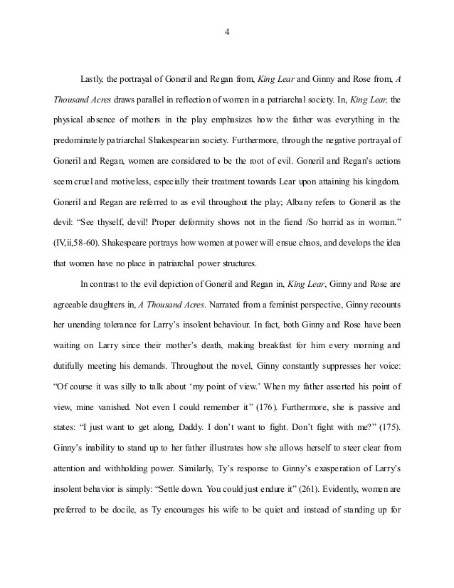 Women Power Essay Comparative Essay A Thousand Acres And King Lear