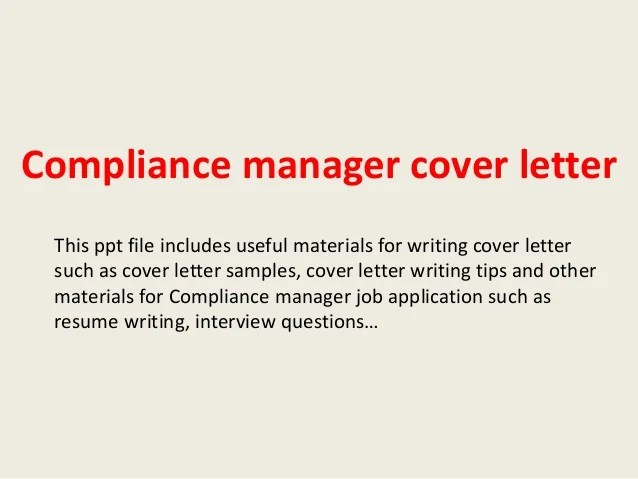 compliance manager cover letter - Yatay.horizonconsulting.co