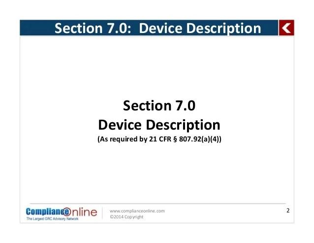 510k Table Of Contents  Medical Device Description