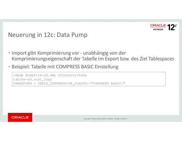 Komprimierung in der Oracle Datenbank Stand 11gR2 12c