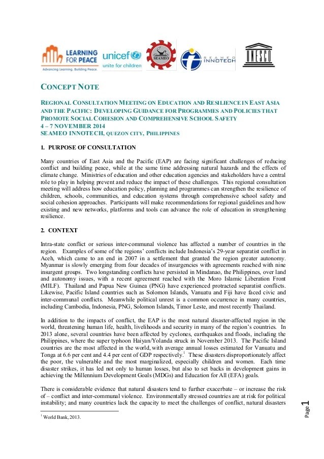 Concept Paper Education And Resilience In EAP