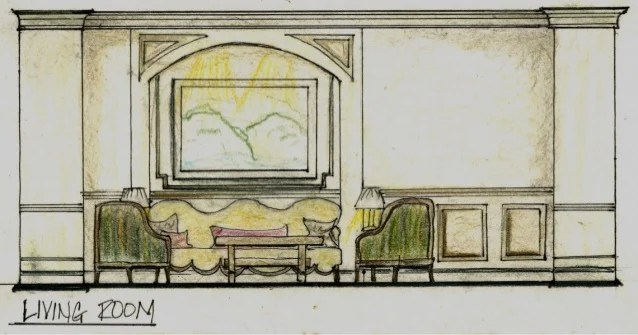 Conceptual Loft Design Boards Living Room Elevation