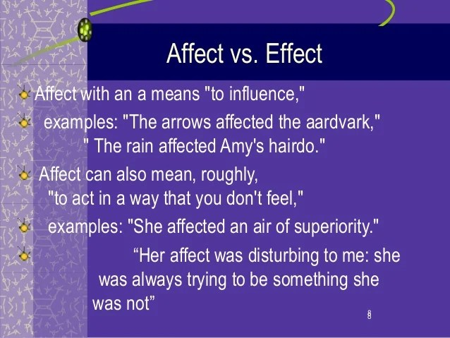 Confusing words affect:effect