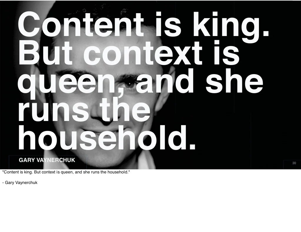Content Is King But Context