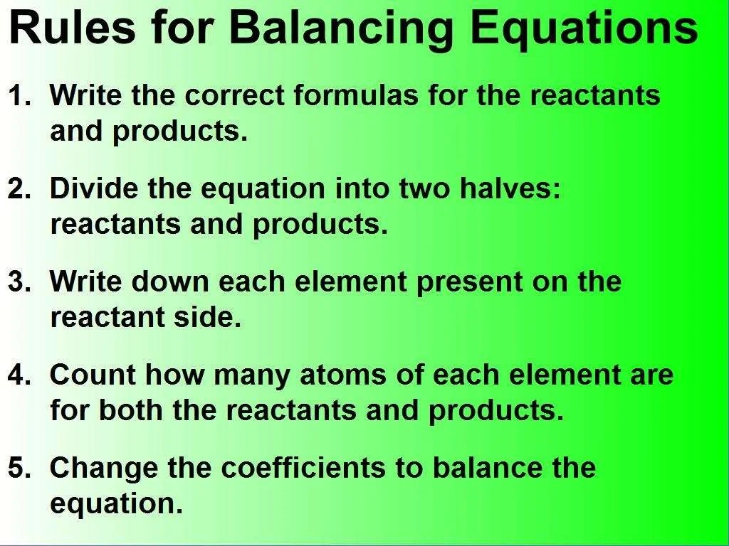 Law Of Conservation Of Mass And Balancing Equations