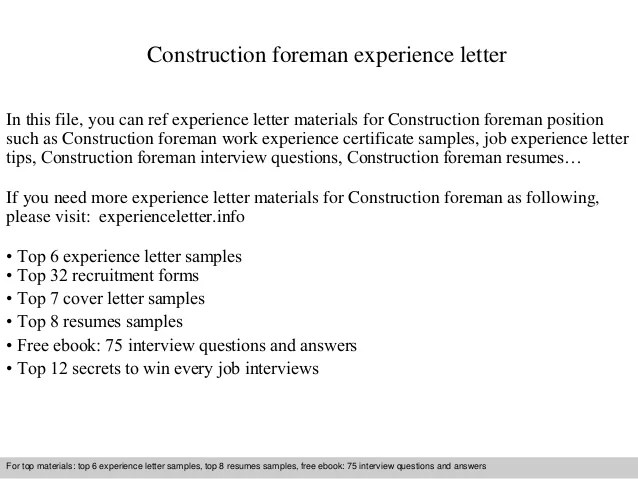 Construction foreman experience letter