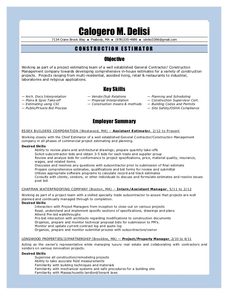 Construction Management Resume 93012
