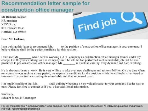 letter of recommendation for office manager thedoctsite co