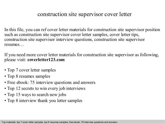 cover letter for site supervisor - Fieldstation.co