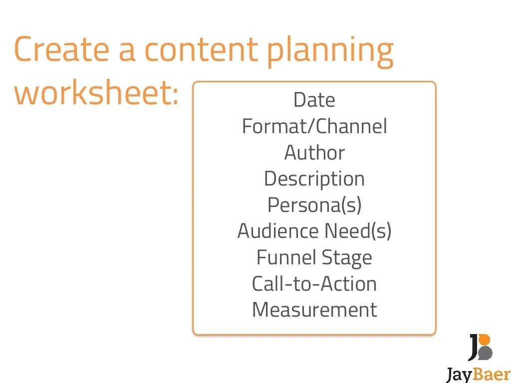 Create A Content Planning Worksheet