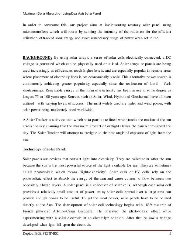 Maximum Solar Absorption Using Dual Axis Solar Panel Report