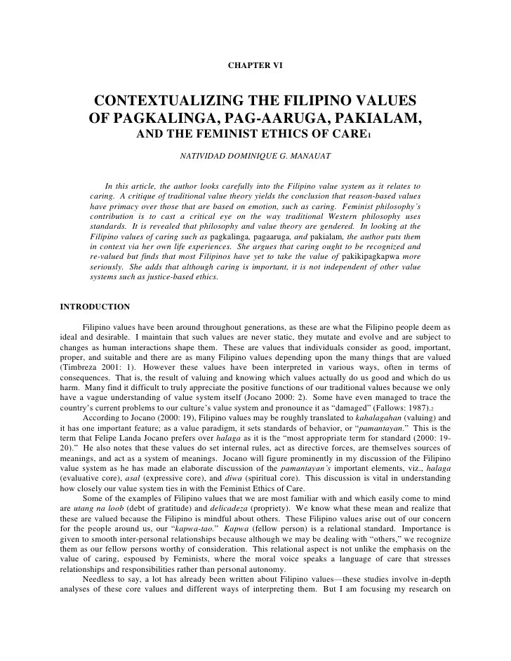 Contextualizing The Filipino Values