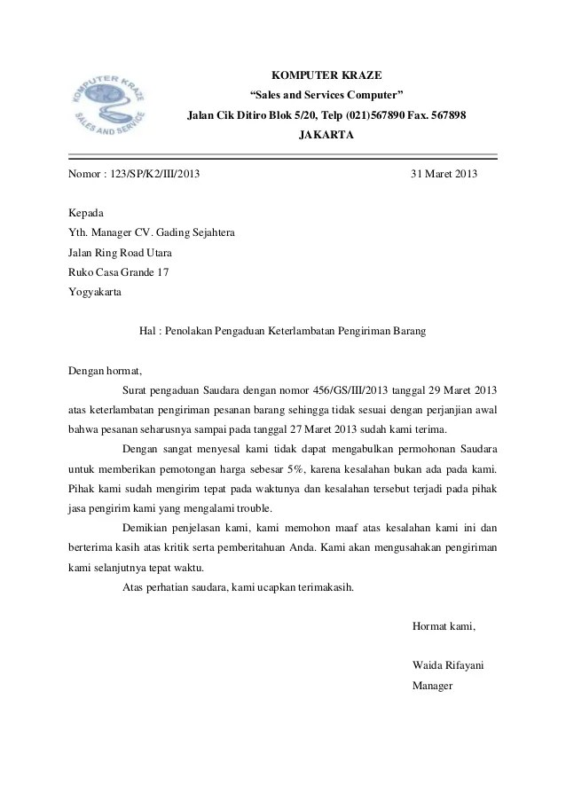 Surat Penolakan Kerjasama : surat, penolakan, kerjasama, Contoh, Surat, Niaga, Pesanan, Download, Images