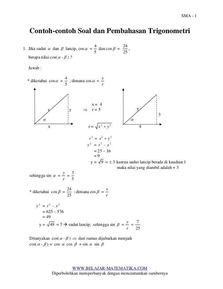 Soal Trigonometri Kelas 10 Doc : trigonometri, kelas, Contoh, Pembahasan, Trigonometri, Untuk
