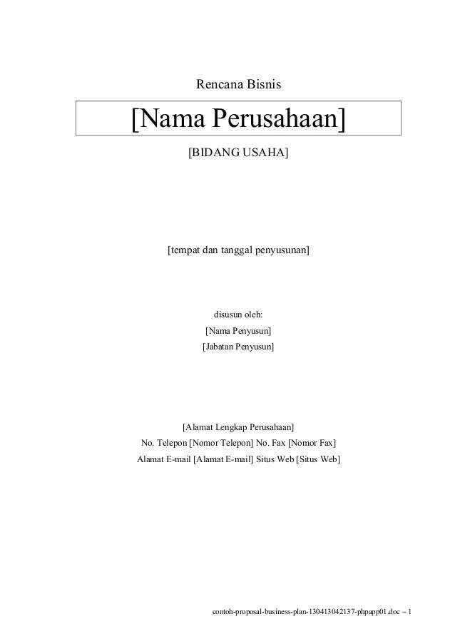 Contoh Proposal Word : contoh, proposal, Contoh, Cover, Proposal, Business