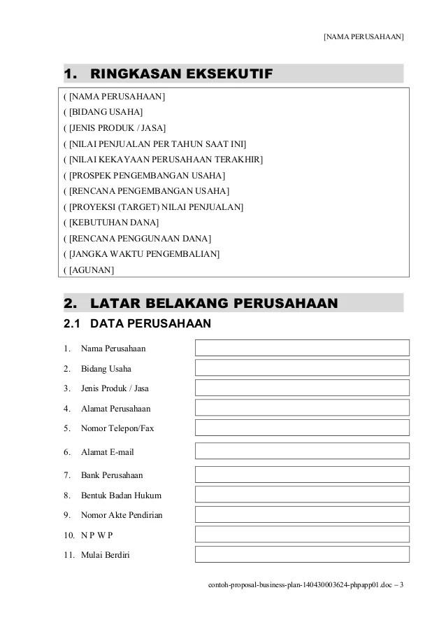 Contoh Bisnis Plan Perusahaan Contoh Ik Cute766