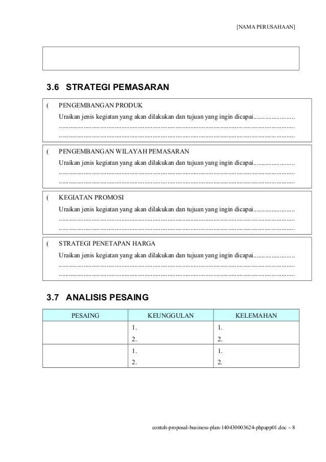 Contoh Proposal Usaha Atau Rencana Bisnis Proposal Cute766